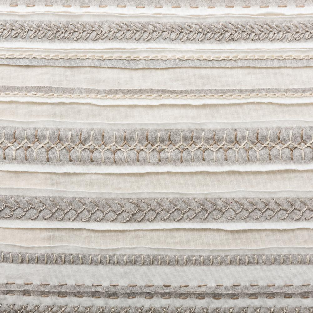 Organic Cotton Embroidery in White and Natural with the Stripe Stencil