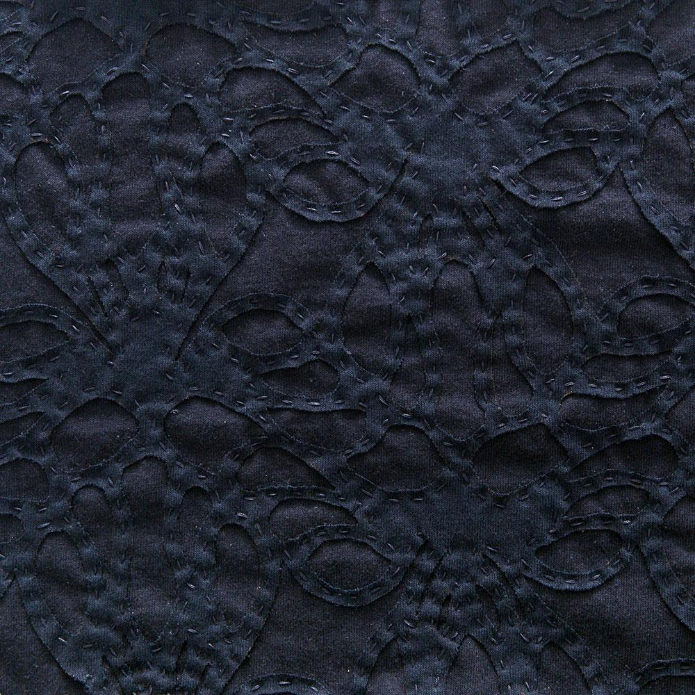 Alabama Chanin 100% Organic Cotton Jersey in Navy with Navy Lace-Inspired Applique