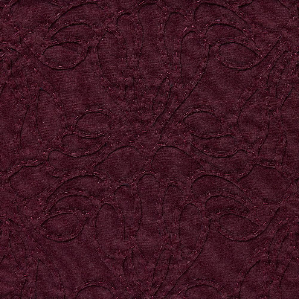 Alabama Chanin 100% Organic Cotton Jersey in Plum with Plum Lace-Inspired Applique