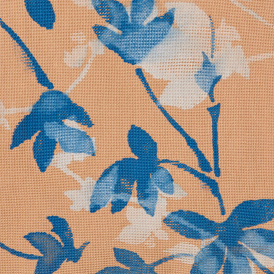 100% Organic Cotton Camel Waffle Fabric Painted in Flora