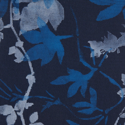 100% Organic Cotton Navy Waffle Fabric Painted in Flora