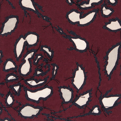 100% Cotton in Plum and Wax featuring the Rose Stencil