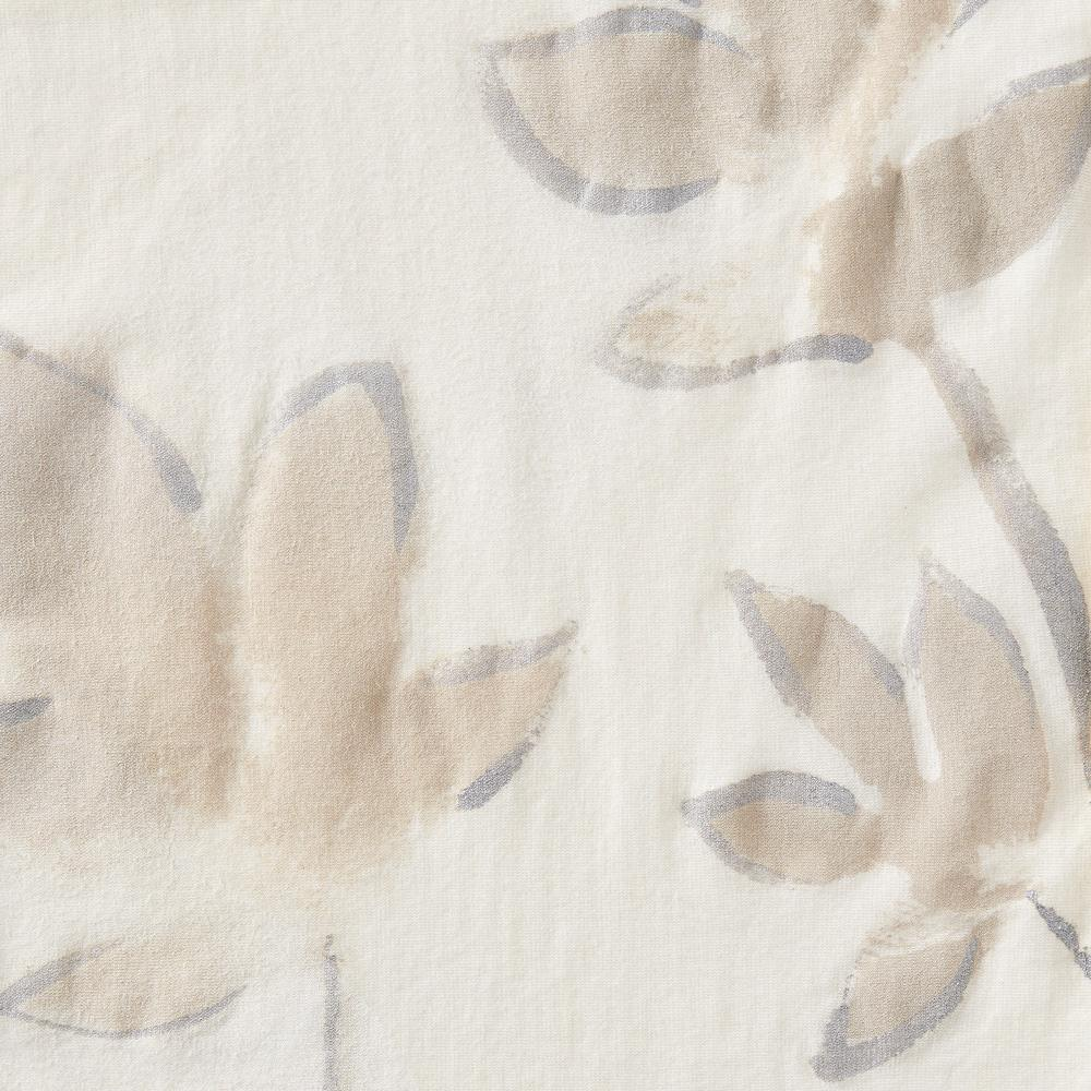 100% Organic Cotton Heavy-weight Rib in Natural Floral Painted Florence design