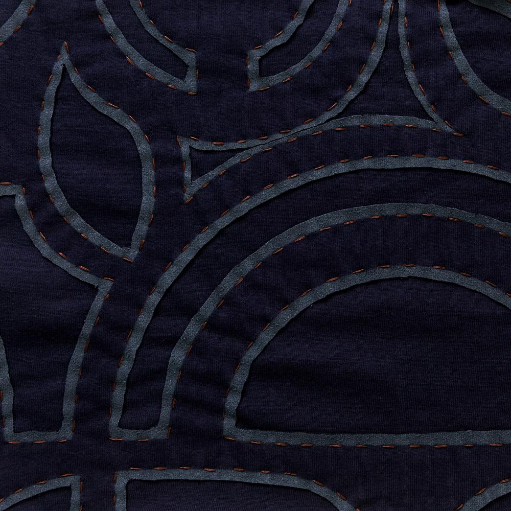 Organic Cotton Abstract Reverse Applique Embroidery in Navy Jersey