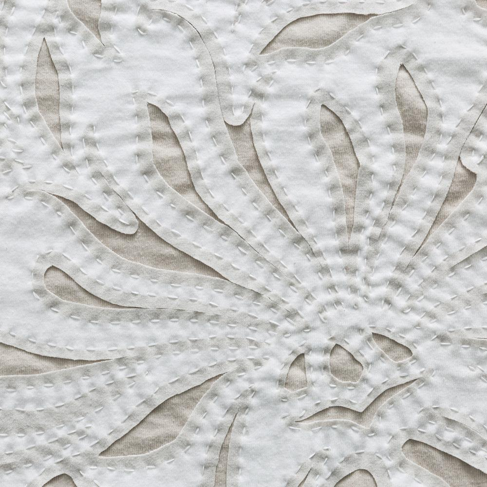 Organic Cotton Jersey Embroidery in Layered White and Natural with Stenciled Magdalena Pattern