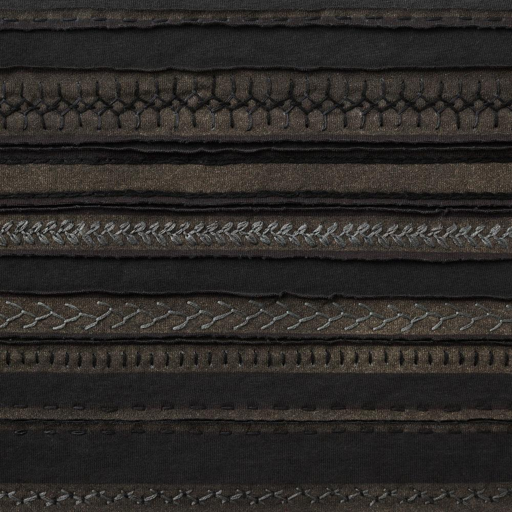 Organic Cotton Embroidery in Black and Black with the Stripe Stencil
