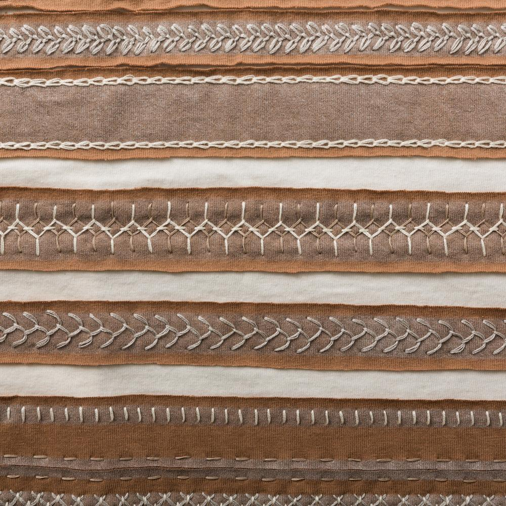 Organic Cotton Embroidery in Camel and Natural with the Stripe Stencil