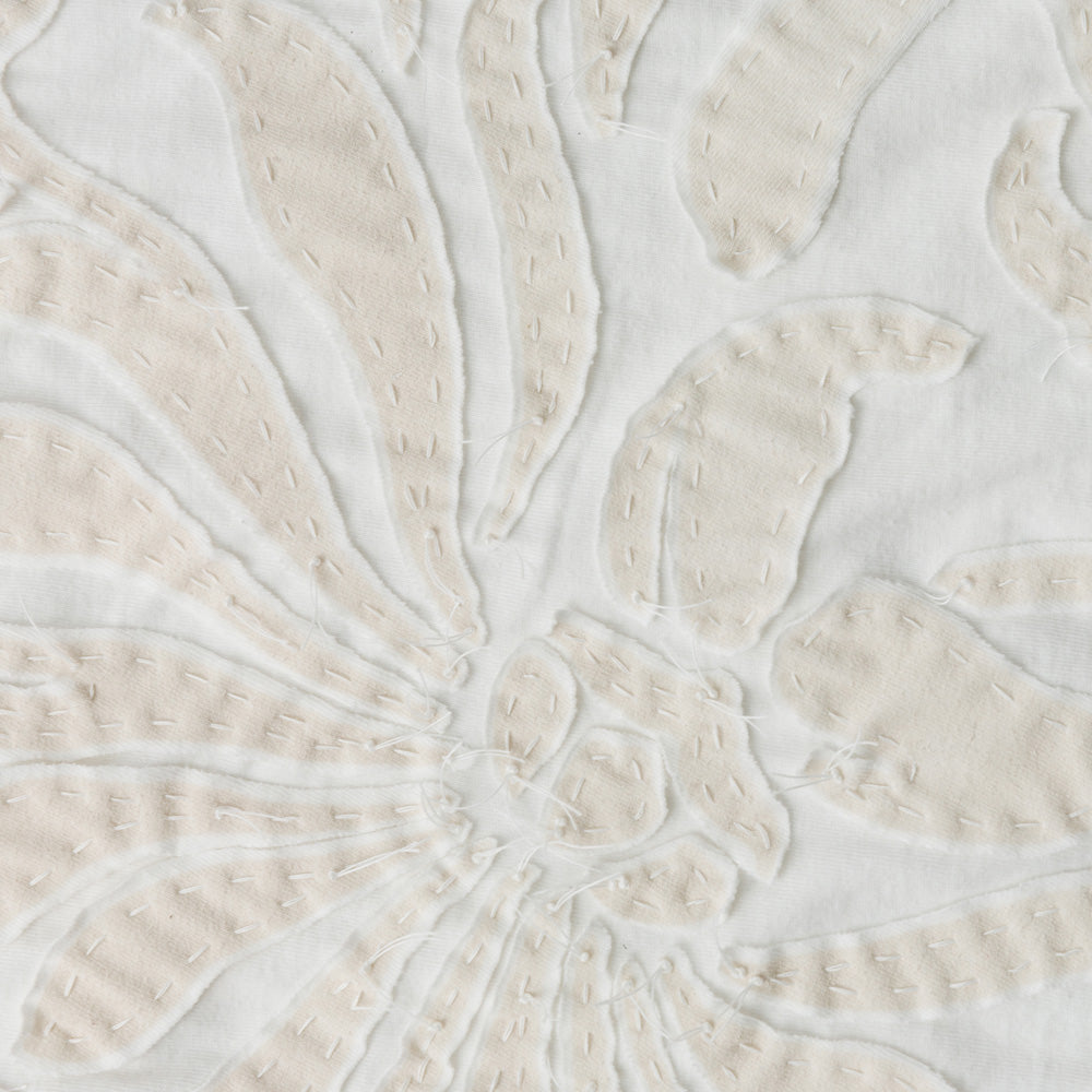 Organic Cotton Embroidery in White Jersey with the Magdalena Stencil