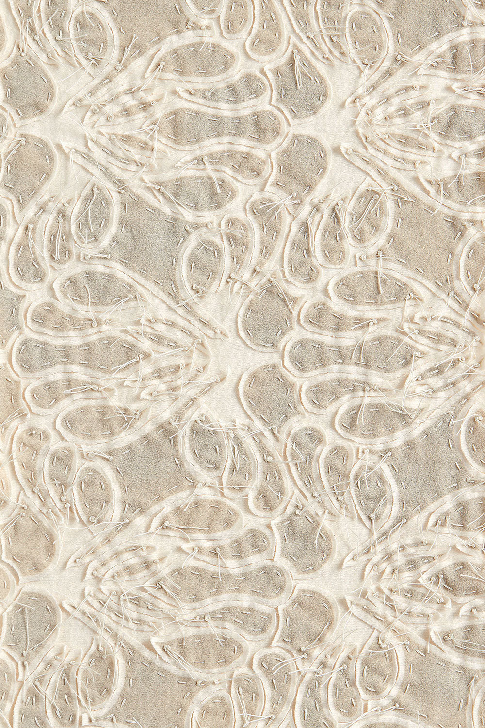 Alabama Chanin Organic Cotton Hand Embroidered Fabric Swatch in Lace