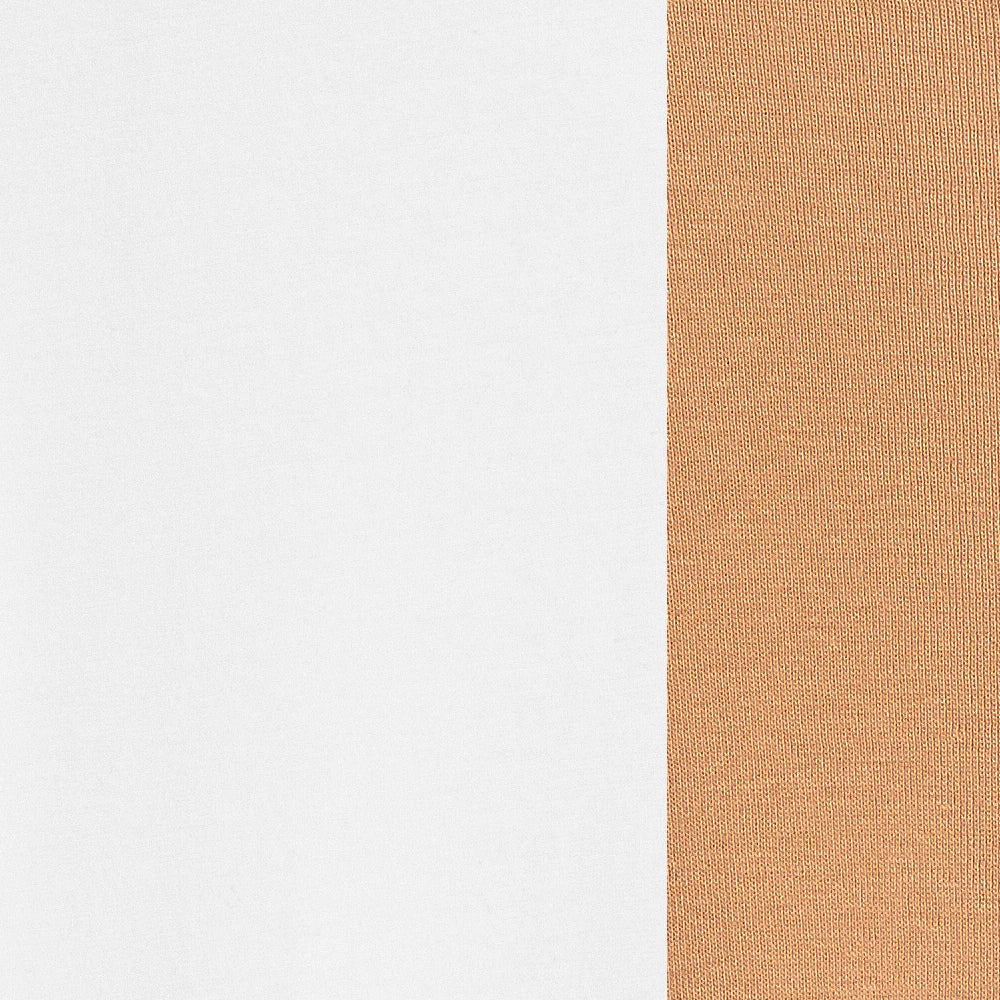 100% Organic Cotton Jersey in White/Camel