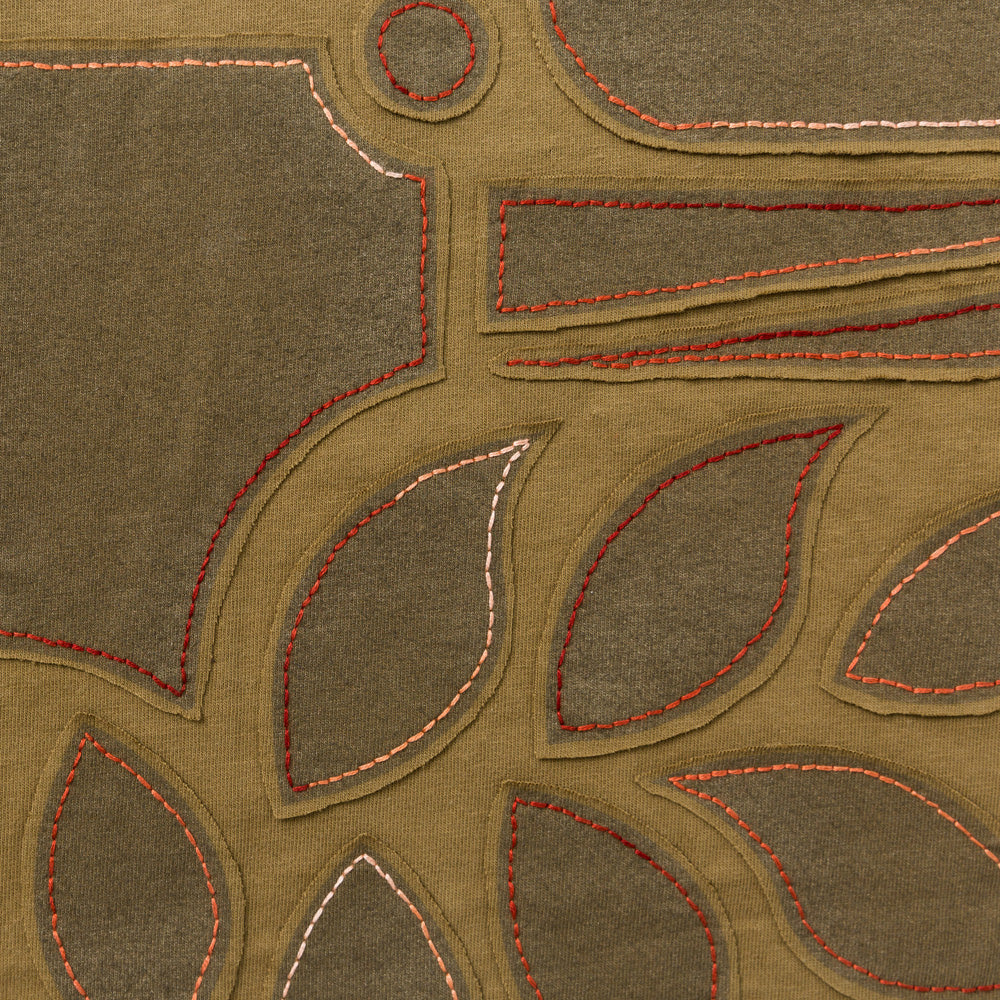 Backstitch Negative Reverse Embroidery in Ochre Jersey with the Abstract Stencil Pattern