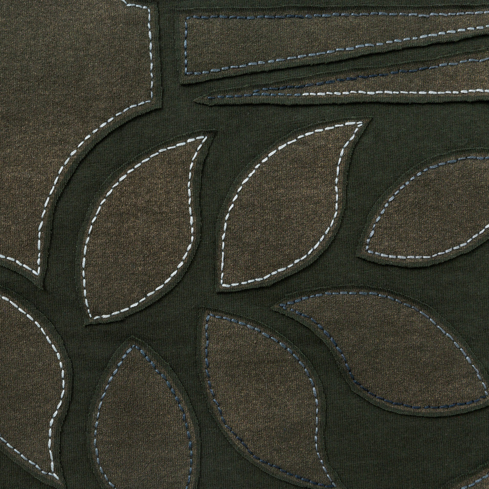 Organic Cotton Reverse Applique Embroidery in Forest with Abstract Pattern