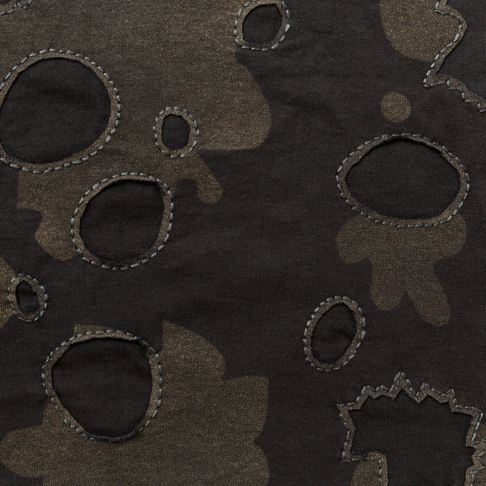 Organic Cotton Backstitch Embroidery in Black Jersey with Canopy Pattern