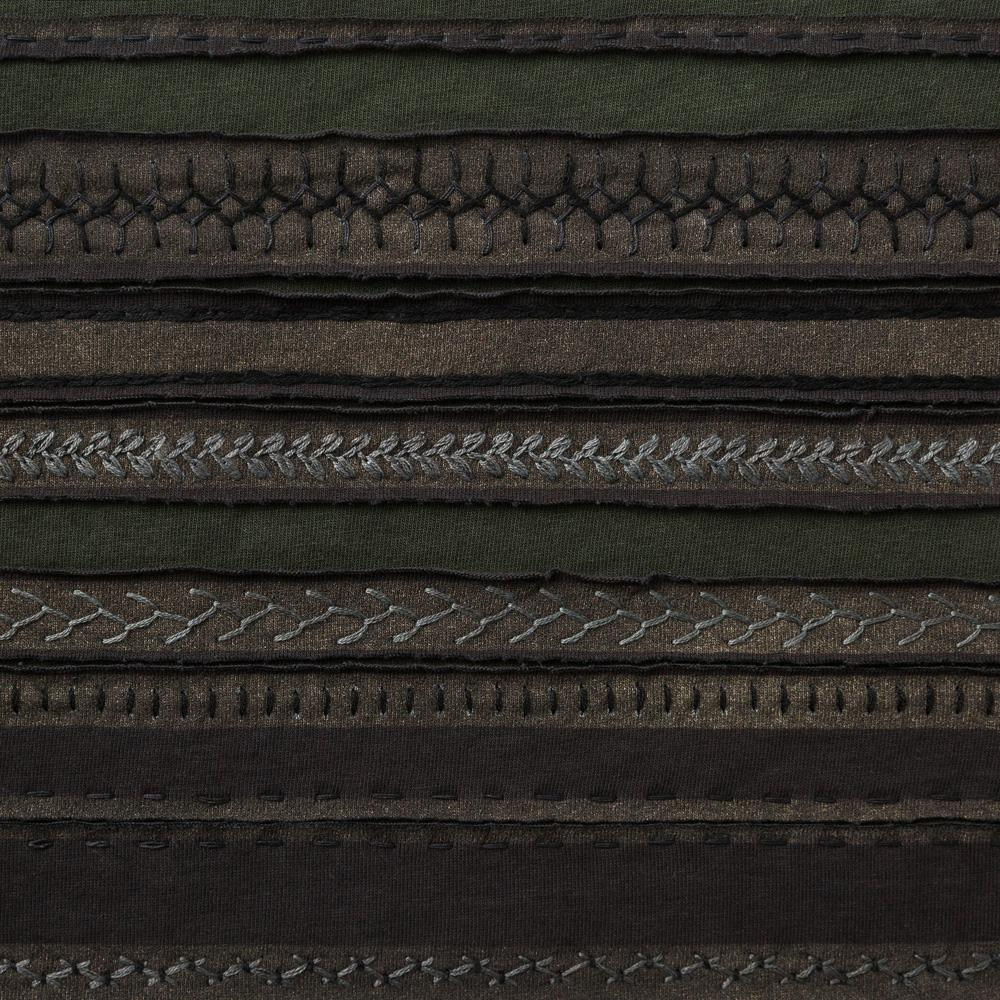 Organic Cotton Embroidery in Black and Forest with the Stripe Stencil