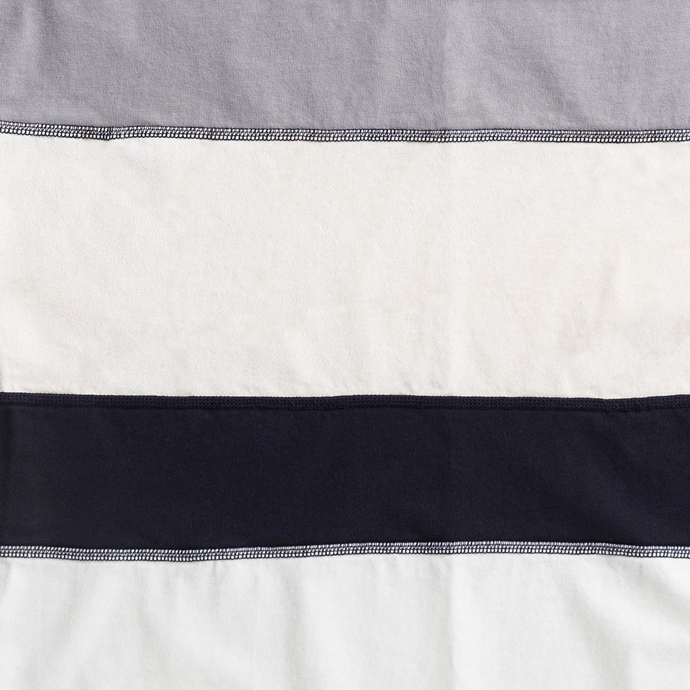 Organic Cotton Jersey Napkins in white and navy stripes