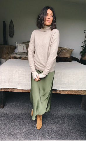 Bias Skirt Olive Satin