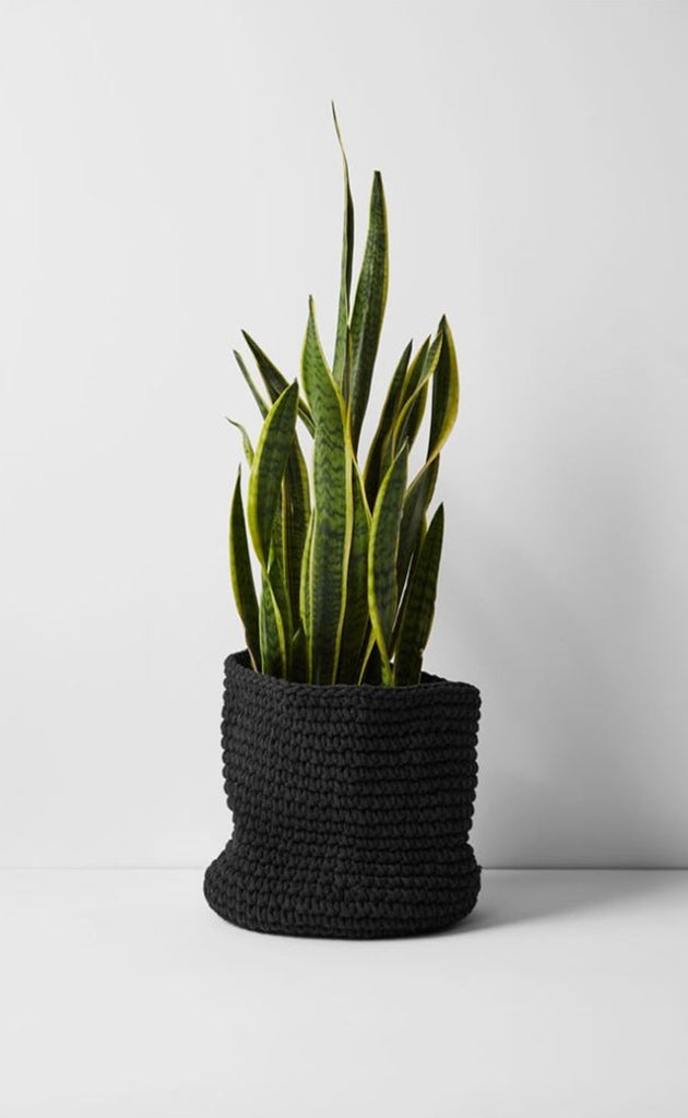 Aura Crochet Black Baskets