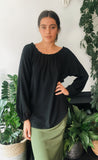 Sunset Top Black Textured Viscose