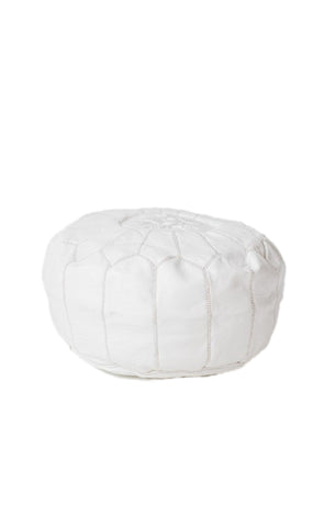 Leather Hand-stitched Pouf White