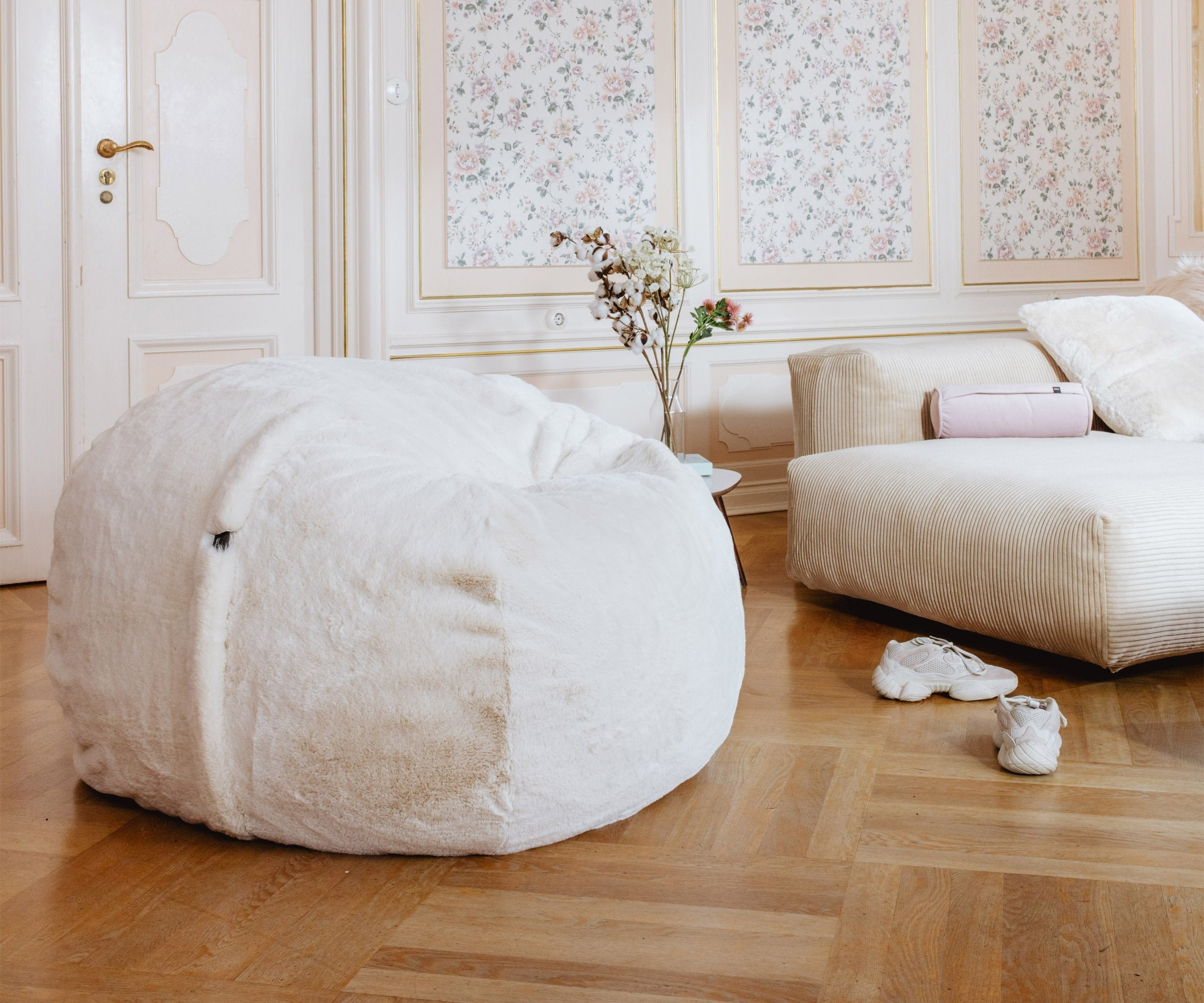 Beanbag Medium Faux Fur beige