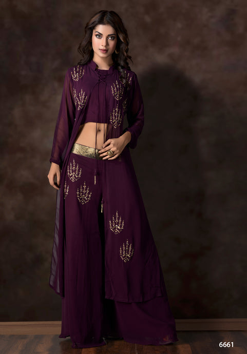Georgette Hand Embroidery Three Piece Crop Top Suit Set - Kanchan Fashion Pvt Ltd