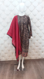 Grey Semi Stitched Suit Hand Embroidered Contrast Georgette Dupatta Border