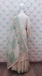 Embroidered Printed Sharara Dupatta With Pearl Design On Neck With Latkan