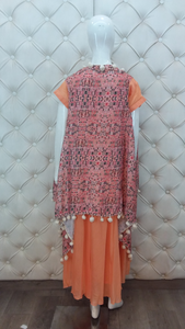 Printed Jacket Stitched Pomp pomps Long Cotton Dress