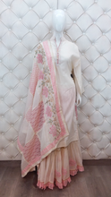 Load image into Gallery viewer, Embroidered Printed Sharara Dupatta With Pearl Design On Neck With Latkan