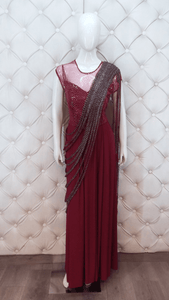 Cut-dana Hand Embroidered Drape With Sequence Work Dress