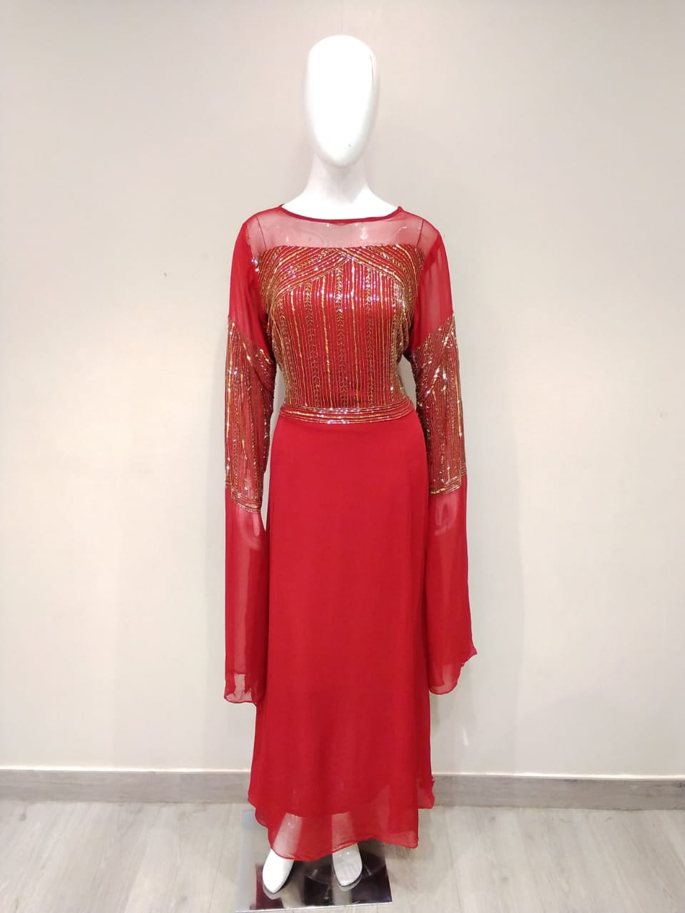Georgette Hand Embroidery Gown - Kanchan Fashion Pvt Ltd