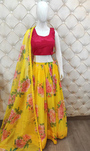 Printed Organza Skirt With Stitched Blouse