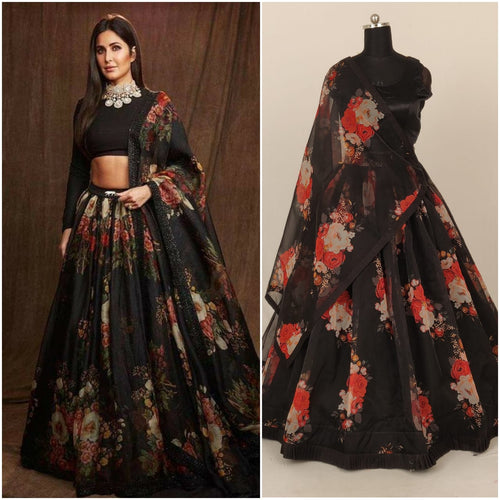 Printed Organza Skirt With Stitched Blouse - Kanchan Fashion Pvt Ltd