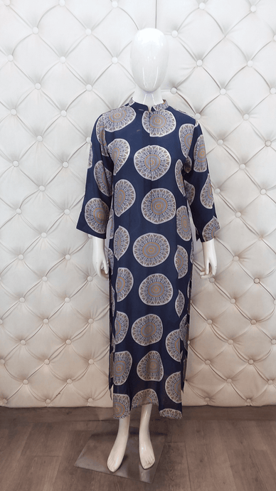 Blue Printed Cotton Long Kurti - Kanchan Fashion Pvt Ltd