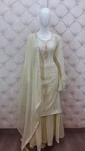 Load image into Gallery viewer, Leather Patching Shirt With Embroidered Sequence Sharara - Kanchan Fashion Pvt Ltd