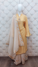 Load image into Gallery viewer, Zari And Thread Embroidered Plazo With Zari Dupatta - Kanchan Fashion Pvt Ltd