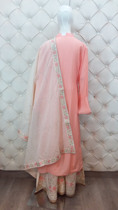 Zari And Thread Embroidered Plazo With Zari Dupatta - Kanchan Fashion Pvt Ltd