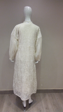Load image into Gallery viewer, Thread Embroidered Long Jacket With Mirror Work Balloon Sleeves