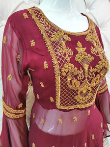 Contrast Threadwork On Peplum With Sharara - Kanchan Fashion Pvt Ltd