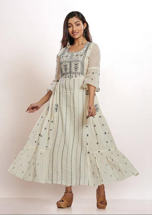Grey Thread Embroidered Kurti front and back - Kanchan Fashion Pvt Ltd