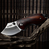 "KUBEY KNIFE KU113 Folding Knife, 1.8"" D2 Steel Blade & Wood Handle - Liner Lock"