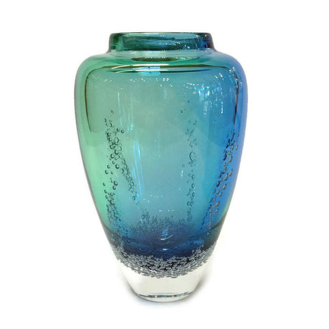 Blodgett Glass - Sea Foam Vase in Blue Green