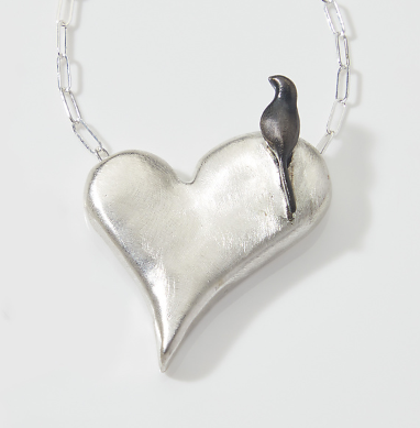 Chee-Me-No Jewelry - Bird on a Heart Necklace