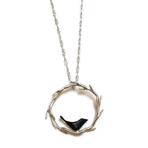 Chee-Me-No Jewelry - Circle Vine Necklace with Bird