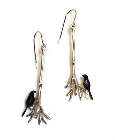 Chee-Me-No Jewelry - Long Root Cluster Earrings with Birds