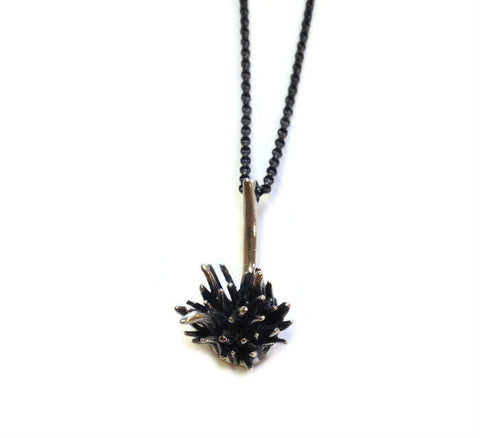 Chee-Me-No Jewelry - Small Thistle Drop Necklace in Silver