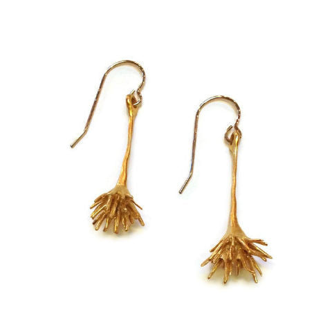 Chee-Me-No Jewelry - Thistle Drop Earrings in Gold