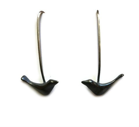 Chee-Me-No Jewelry - Long Black Bird Earrings