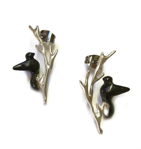 Chee-Me-No Jewelry - Bird on a Twig Post Earrings
