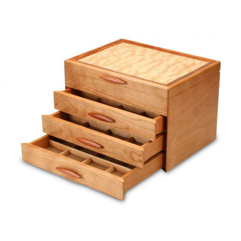 Mike Fisher - Heartwood Creations - Cherry & Quilted Maple 3 Drawer Jewelry Box